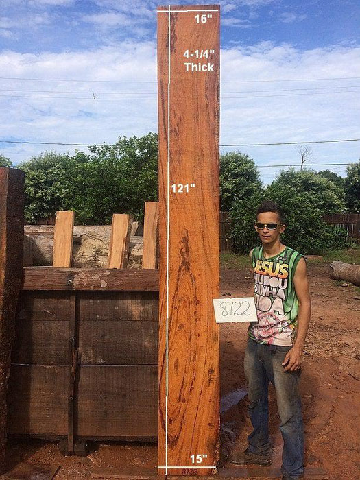 "Angelim Pedra #8722 - 4-1/4"" x 15"" to 16"" x 121"" FREE SHIPPING within the Contiguous US. - Big Wood Slabs"