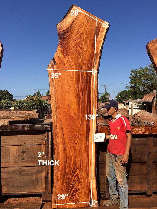 "Jatoba / Brazilian Cherry #6745 - 2"" x 28"" to 35"" x 130"" FREE SHIPPING within the Contiguous US. - Big Wood Slabs"