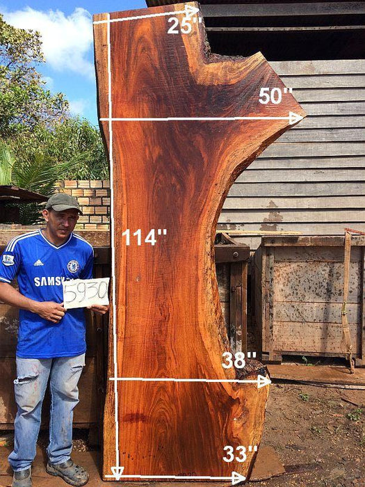 "PRESIDENT'S SALE ITEM - Jatoba / Brazilian Cherry #5930- 2-1/2"" x 25"" to 33"" x 114"" FREE SHIPPING within the Contiguous US. - Big Wood Slabs"