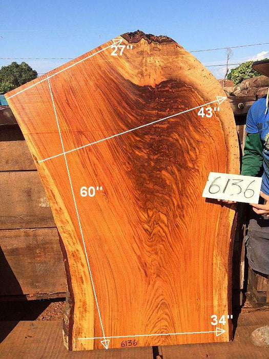 "Jatoba / Brazilian Cherry - 2-1/2"" x 27"" to 43"" x 60"" - Big Wood Slabs"