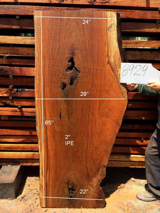 Ipe / Brazilian Walnut #8929 - 2″ x 22″ to 29″ x 65″ FREE SHIPPING within the Contiguous US. - Big Wood Slabs