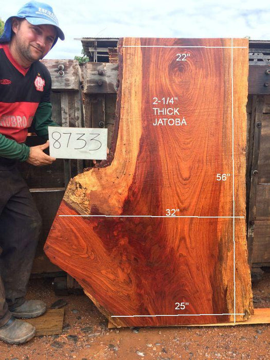 "Jatoba / Brazilian Cherry #8733- 2-1/4"" x 22"" to 37"" x 56"" FREE SHIPPING within the Contiguous US. - Big Wood Slabs"