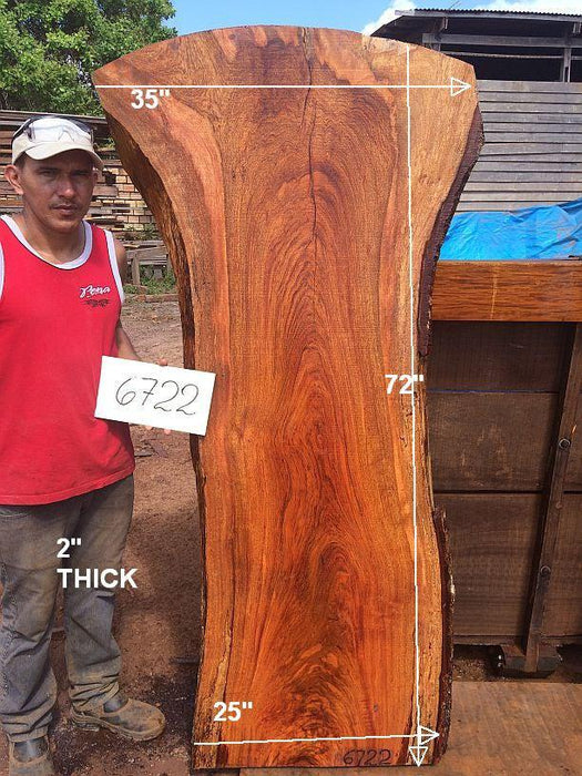 "Jatoba / Brazilian Cherry #6722- 2"" x 25"" to 35"" x 72"" FREE SHIPPING within the Contiguous US. - Big Wood Slabs"