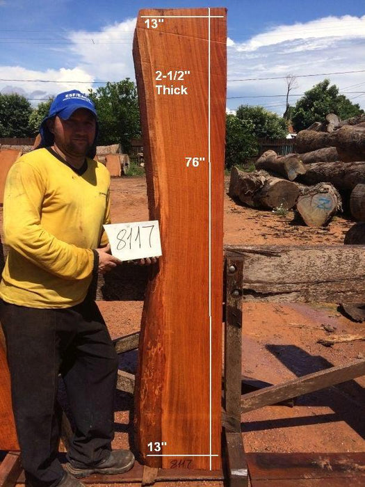 "Jatoba / Brazilian Cherry #8117- 2-1/2"" x 13"" x 76"" FREE SHIPPING within the Contiguous US. - Big Wood Slabs"