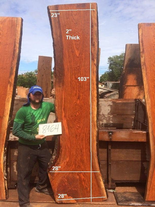"Jatoba / Brazilian Cherry #8164 - 2"" x 23"" to 28"" x 103"" FREE SHIPPING within the Contiguous US. - Big Wood Slabs"