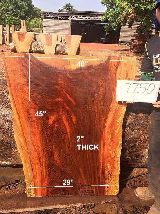"Jatoba / Brazilian Cherry #7750- 2"" x 29"" to 40"" x 45"" FREE SHIPPING within the Contiguous US. - Big Wood Slabs"