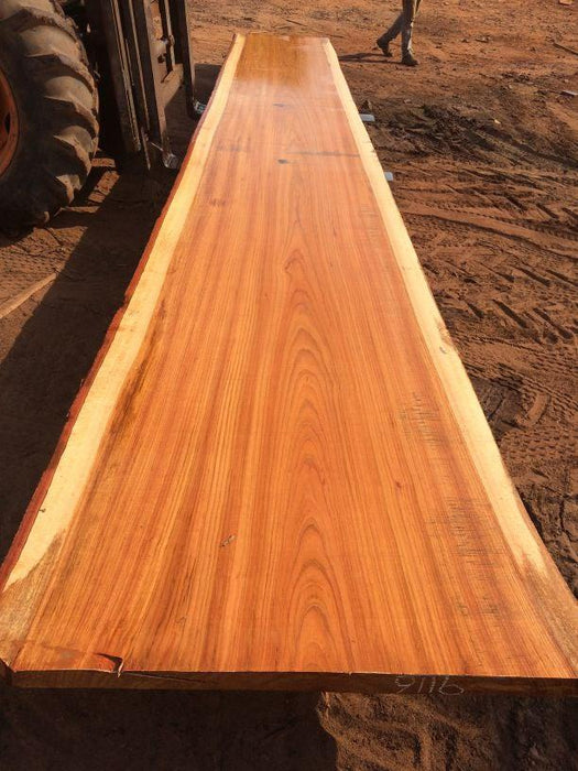 Jatoba / Brazilian Cherry  #9116 – 2-1/2″ x 40″ to 49″ x 287″ FREE SHIPPING within the Contiguous US. - Big Wood Slabs
