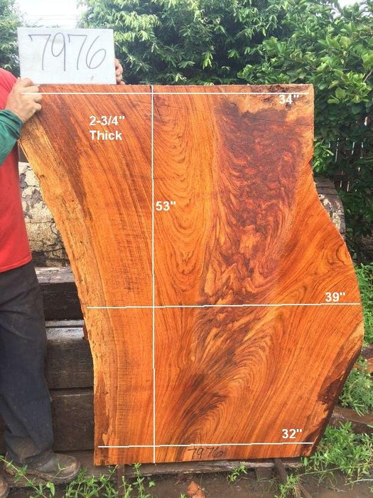 "Jatoba / Brazilian Cherry #7976 - 2-3/4"" x 32"" to 39"" x 53"" FREE SHIPPING within the Contiguous US. - Big Wood Slabs"