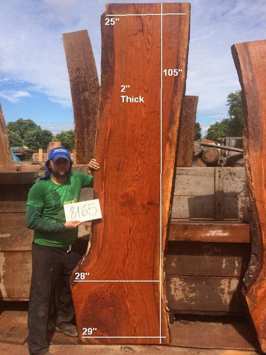 "Jatoba / Brazilian Cherry #8165 - 2"" x 25"" to 29"" x 105"" FREE SHIPPING within the Contiguous US. - Big Wood Slabs"