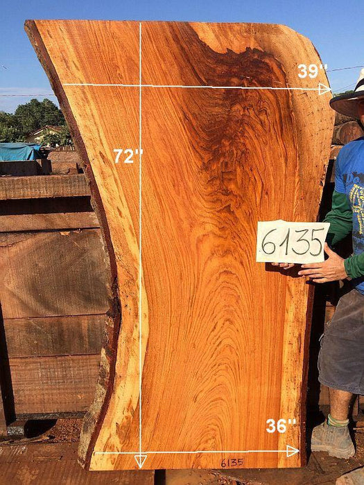 "Jatoba / Brazilian Cherry #6135-  2-1/2"" x 36"" to 39"" x 72"" FREE SHIPPING within the Contiguous US. - Big Wood Slabs"