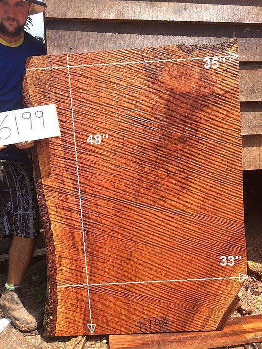 "Jatoba / Brazilian Cherry #6199-  2-1/2"" x 33"" to 35"" x 48"" FREE SHIPPING within the Contiguous US. - Big Wood Slabs"