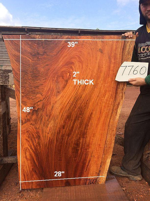 "Jatoba / Brazilian Cherry #7760- 2"" x 28"" to 39"" x 48"" FREE SHIPPING within the Contiguous US. - Big Wood Slabs"