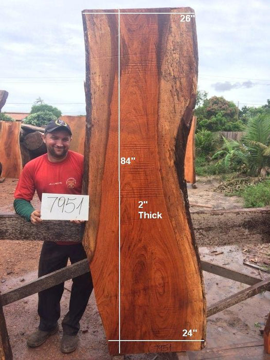 "Jatoba / Brazilian Cherry #7951 - 2"" x 24"" to 26"" x 84"" FREE SHIPPING within the Contiguous US. - Big Wood Slabs"