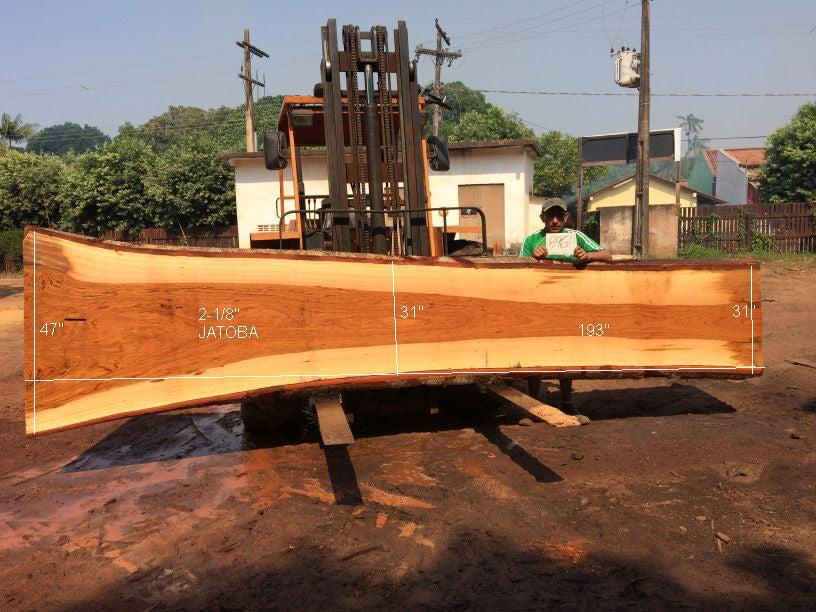"Jatoba / Brazilian Cherry #8960 – 2-1/8"" x 31"" to 47"" x 193"" FREE SHIPPING within the Contiguous US. - Big Wood Slabs"