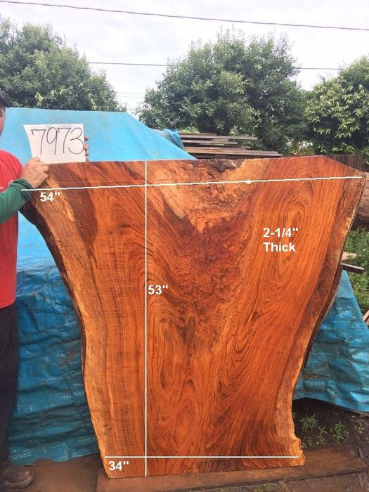 "Jatoba / Brazilian Cherry - 2-1/4"" x 34"" to 54"" x 53"" - Big Wood Slabs"