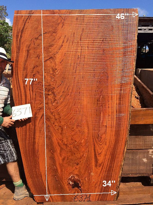 "Angelim Pedra #6371- 2-3/4"" x 34"" to 46"" x 77"" FREE SHIPPING within the Contiguous US. - Big Wood Slabs"