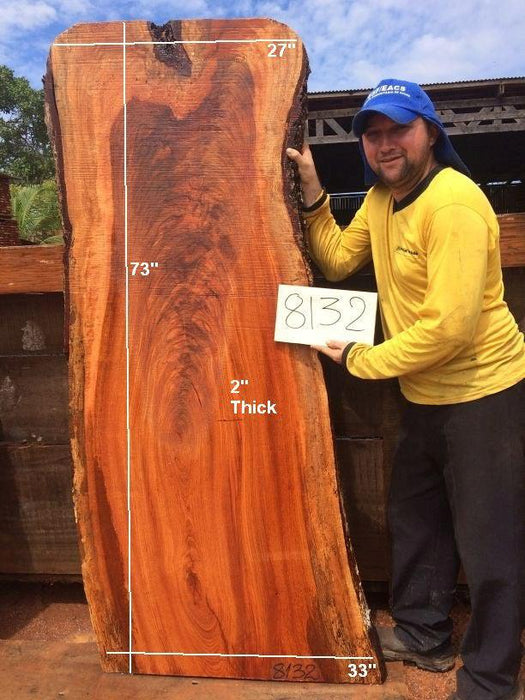 "Jatoba / Brazilian Cherry #8132- 2"" x 27"" to 33"" x 73"" FREE SHIPPING within the Contiguous US. - Big Wood Slabs"