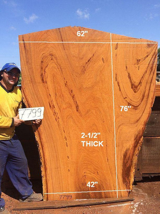 "Angelim Pedra #7799- 2-1/2"" x 42"" to 62"" x 76"" FREE SHIPPING within the Contiguous US. - Big Wood Slabs"