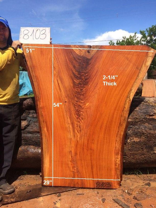 "Jatoba / Brazilian Cherry #8103- 2-1/4"" x 29"" to 51"" x 54"" FREE SHIPPING within the Contiguous US. - Big Wood Slabs"