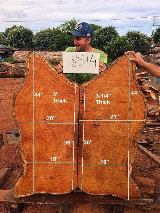"Garapa #8514- 3-1/4"" x 18"" to 21"" x 44"" FREE SHIPPING within the Contiguous US. - Big Wood Slabs"