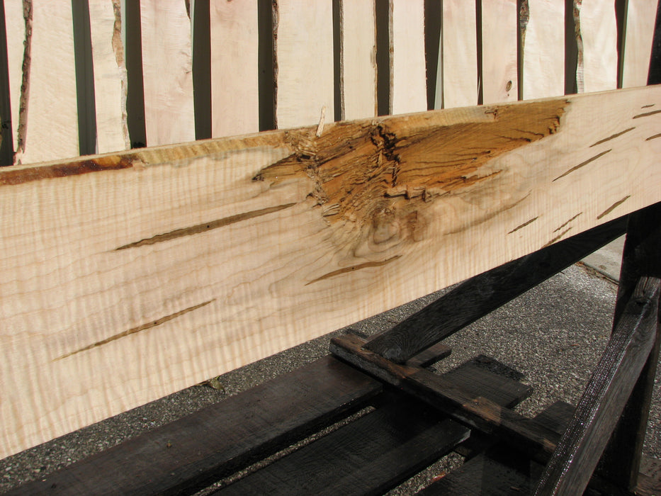 "Maple, Curly #7211(JW) - 1-3/8"" x 7"" x 91"" FREE SHIPPING within the Contiguous US. - Big Wood Slabs"