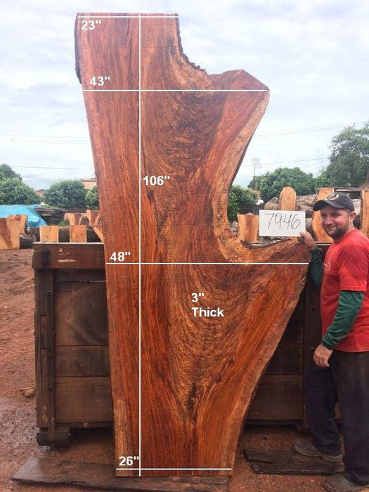 "Jatoba / Brazilian Cherry #7946- 3"" x 23"" to 48"" x 106"" FREE SHIPPING within the Contiguous US. - Big Wood Slabs"