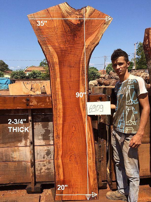 "Jatoba / Brazilian Cherry #6909- 2-3/4"" x 20"" to 35"" x 90"" FREE SHIPPING within the Contiguous US. - Big Wood Slabs"