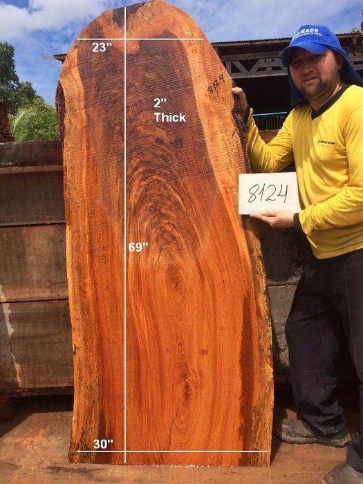 "Jatoba / Brazilian Cherry #8124- 2"" x 23"" to 30"" x 69"" FREE SHIPPING within the Contiguous US. - Big Wood Slabs"