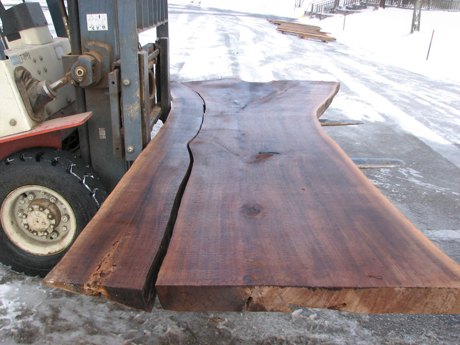 "Walnut, American (2pc set) #7285(OC) 3"" x 33""-56"" x 124"" - FREE SHIPPING within the Contiguous US. - Big Wood Slabs"