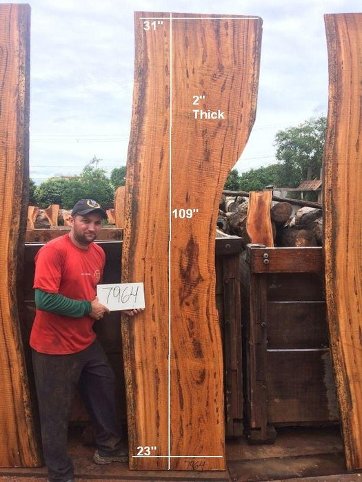 "Angelim Pedra #7964 - 2"" x 23"" to 31"" x 109"" FREE SHIPPING within the Contiguous US. - Big Wood Slabs"