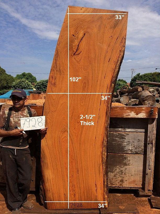 "Angelim Pedra  #7928- 2-1/2"" x 33"" to 34"" x 102"" FREE SHIPPING within the Contiguous US. - Big Wood Slabs"