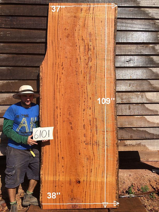 "Angelim Pedra #6101 - 2-1/2"" x 37"" to 38"" x 109"" FREE SHIPPING within the Contiguous US. - Big Wood Slabs"