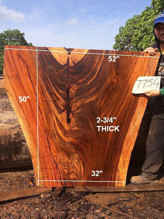 "Jatoba / Brazilian Cherry #7754- 2-3/4"" x 32"" to 52"" x 50"" FREE SHIPPING within the Contiguous US. - Big Wood Slabs"