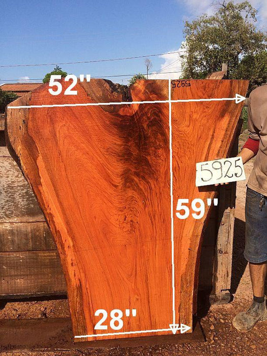 "Jatoba / Brazilian Cherry #5925- 2-1/2"" x 28"" to 52"" x 59"" FREE SHIPPING within the Contiguous US. - Big Wood Slabs"