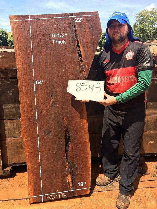 "Ipe / Brazilian Walnut #8543- 6-1/2"" x 18"" to 22"" x 64"" FREE SHIPPING within the Contiguous US. - Big Wood Slabs"