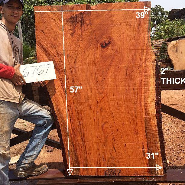 "Jatoba / Brazilian Cherry #6767- 2"" x 31"" to 39"" x 57"" FREE SHIPPING within the Contiguous US. - Big Wood Slabs"