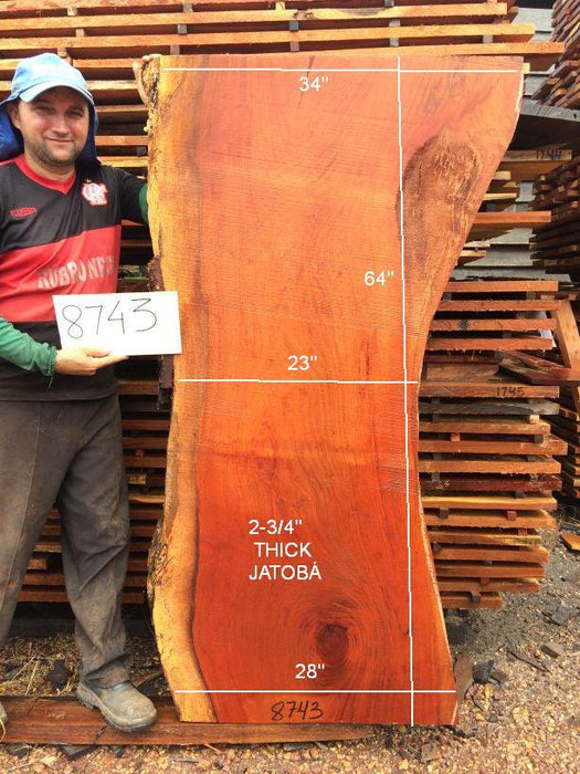 Jatoba / Brazilian #8743– 2-3/4″ x 28″ to 34″ x 64″ FREE SHIPPING within the Contiguous US. - Big Wood Slabs