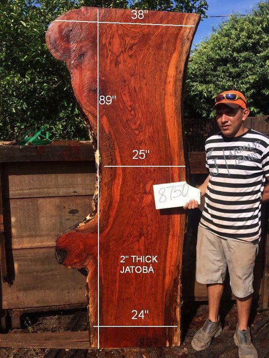 Jatoba / Brazilian Cherry #8750– 2″ x 24″ to 38″ x 89″ FREE SHIPPING within the Contiguous US. - Big Wood Slabs