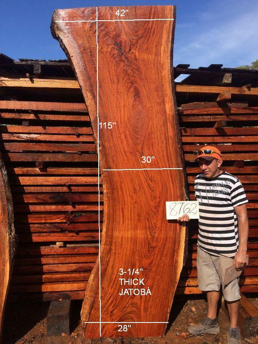 "Jatoba / Brazilian Cherry #8762- 3-1/4″ x 28″ to 42″ x 115"" FREE SHIPPING within the Contiguous US. - Big Wood Slabs"