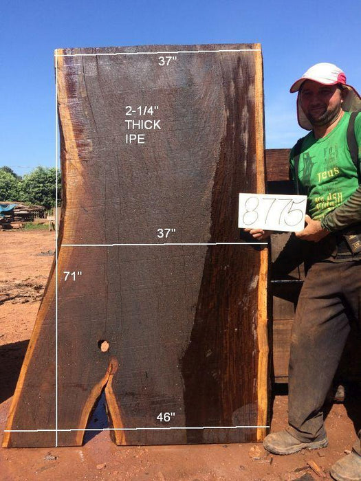 Ipe / Brazilian Walnut #8775– 2-1/4″ x 37″ to 46″ x 71″ FREE SHIPPING within the Contiguous US. - Big Wood Slabs
