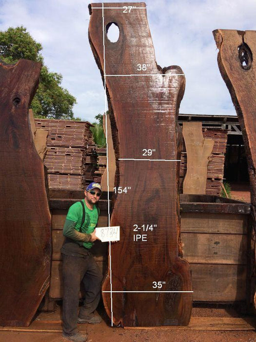 Ipe / Brazilian Walnut #8784- 2-1/4″ x 27″ to 38″ x 154″ FREE SHIPPING within the Contiguous US. - Big Wood Slabs