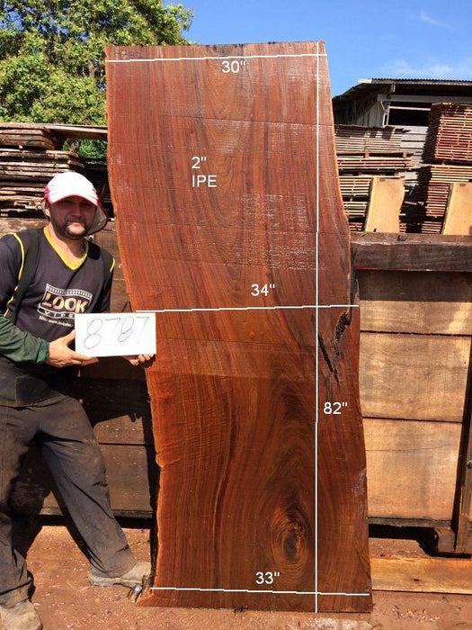 Ipe / Brazilian Walnut #8787- 2″ x 30″ to 34″ x 82″ FREE SHIPPING within the Contiguous US. - Big Wood Slabs
