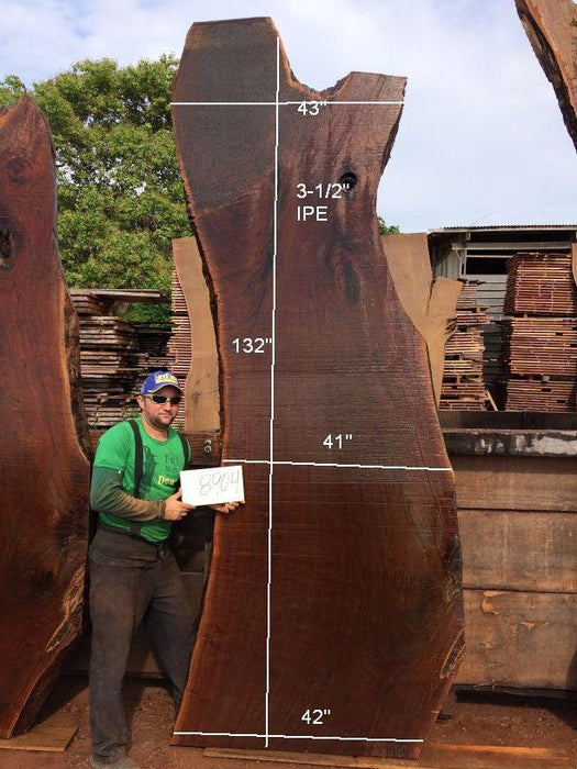 Ipe / Brazilian Walnut #8904- 3-1/2″ x 41″ to 43″ x 132″ FREE SHIPPING within the Contiguous US. - Big Wood Slabs
