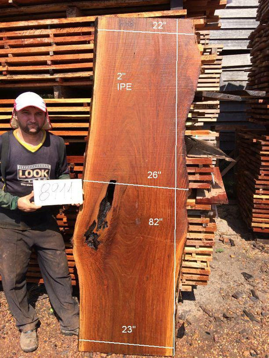 Ipe / Brazilian Walnut #8911- 2″ x 22″ to 26″ x 82″ FREE SHIPPING within the Contiguous US. - Big Wood Slabs