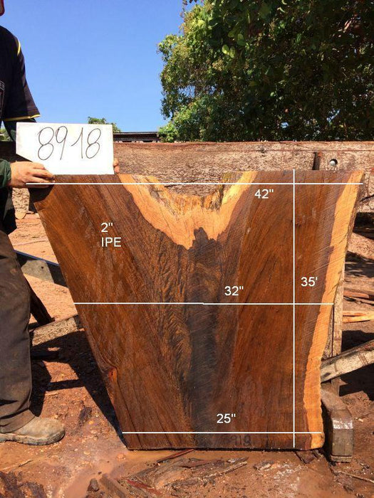 Ipe / Brazilian Walnut #8918 - 2″ x 25″ to 42″ x 35″ FREE SHIPPING within the Contiguous US. - Big Wood Slabs
