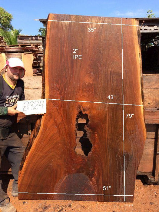 Ipe / Brazilian Walnut #8924- 2″ x 35″ to 51″ x 79″ FREE SHIPPING within the Contiguous US. - Big Wood Slabs