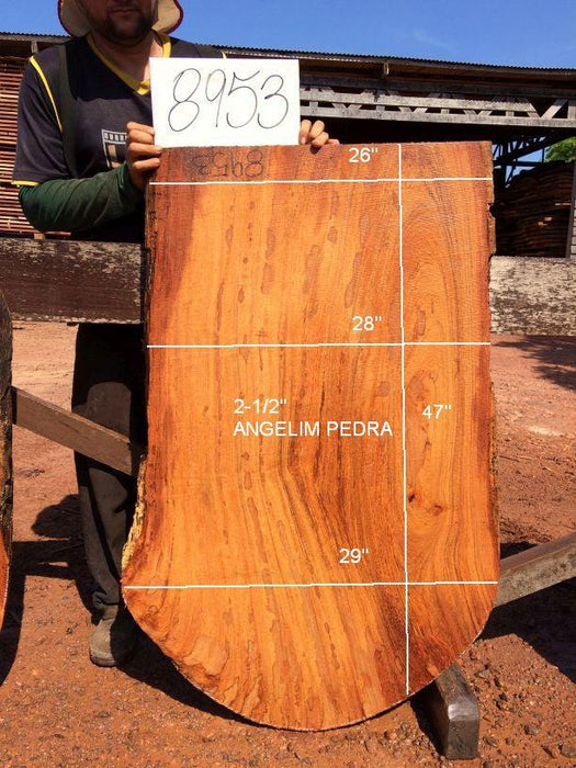 "Angelim Pedra #8953 - 2-1/2"" x 26"" to 29"" x 47"" FREE SHIPPING within the Contiguous US. - Big Wood Slabs"