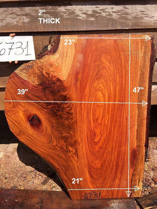 "Jatoba / Brazilian Cherry #6731- 2"" x 21"" to 39"" x 47"" FREE SHIPPING within the Contiguous US. - Big Wood Slabs"