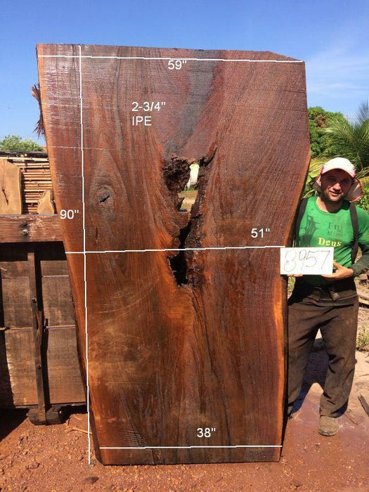 Ipe / Brazilian Walnut #8957– 2-3/4″ x 38″ to 59″ x 90″ FREE SHIPPING within the Contiguous US. - Big Wood Slabs