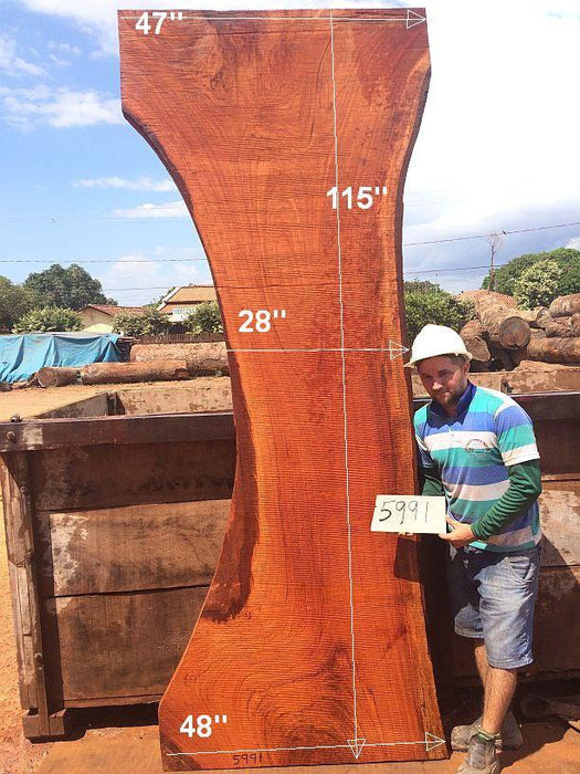 "Jatoba / Brazilian Cherry #5991- 2-3/4"" x 28"" to 47"" x 115"" FREE SHIPPING within the Contiguous US. - Big Wood Slabs"